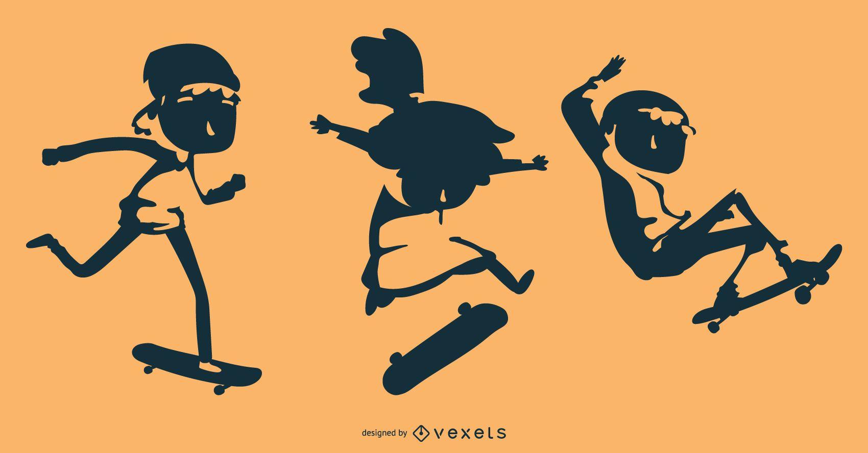 Skater kids silhouette set