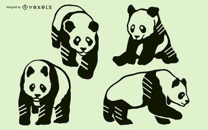 Conjunto de Design Panda Doodle