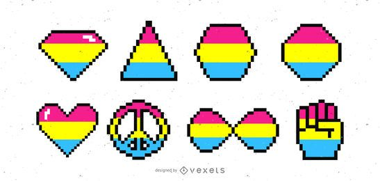 Pansexual Shapes Pixel Style Set