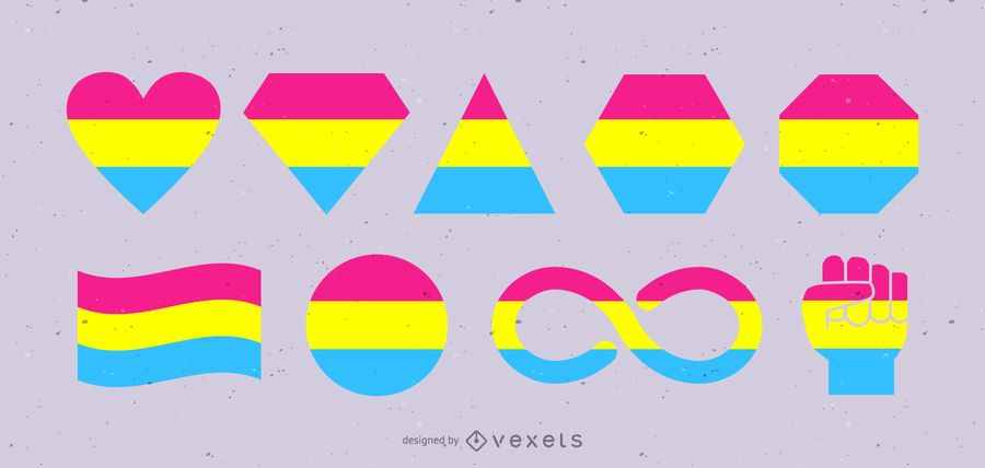 Pansexual Flags and Shapes Set