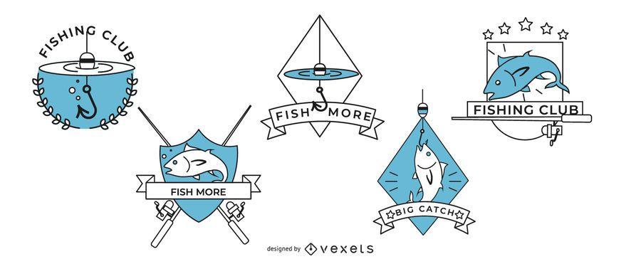Diseño de insignias de logotipo de pescado