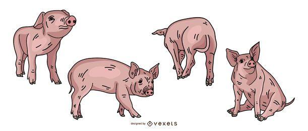 Desenho de ilustração colorida de porco