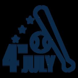4. Juli Baseballschläger flach