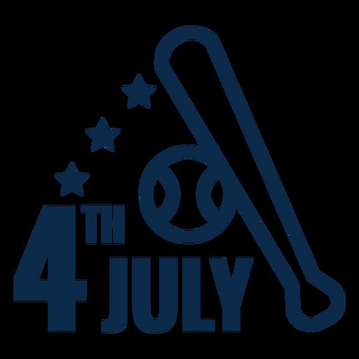 4. Juli Baseballschläger flach Transparent PNG