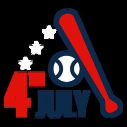 Icono de bate de béisbol del 4 de julio