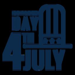 4. Juli Hut Schriftzug flach