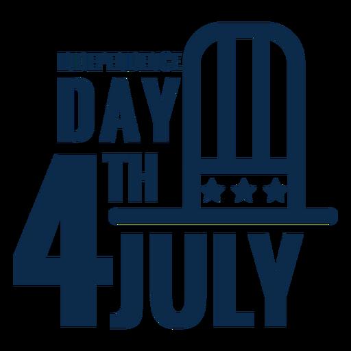 4 de julho chapéu letras plana Transparent PNG