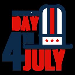 4. Juli Hut Schriftzug Symbol