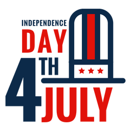 4th july hat lettering icon