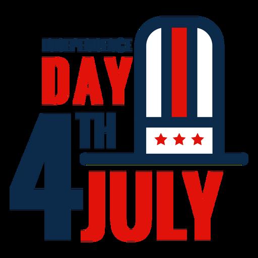 4 de julio icono de letras de sombrero