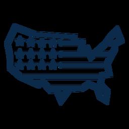 Bandera americana mapa plano