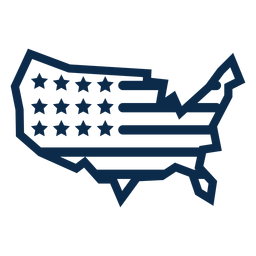 Mapa da bandeira americana plana