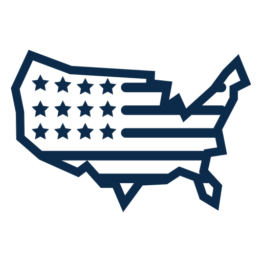 American flag map flat Transparent PNG