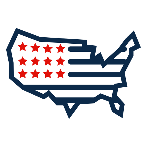 American flag map icon Transparent PNG