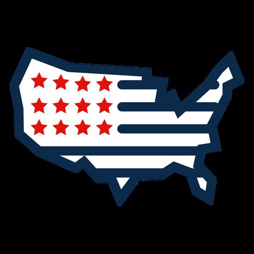 Ícone do mapa da bandeira americana Transparent PNG
