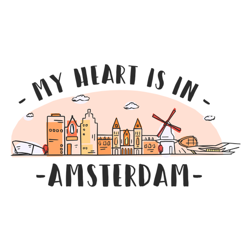 Amsterdam heart skyline cartoon Transparent PNG
