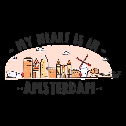 Amsterdam Herz Skyline Cartoon Transparent PNG
