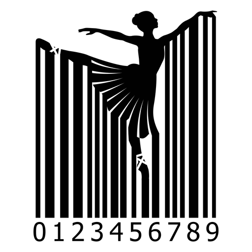 Código de barras con bailarina de ballet. Transparent PNG
