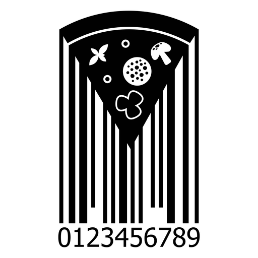 Código de barras con rebanada de pizza Transparent PNG