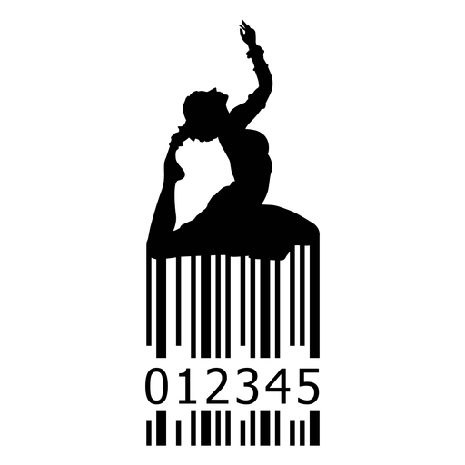 Barcode with woman doing yoga Transparent PNG