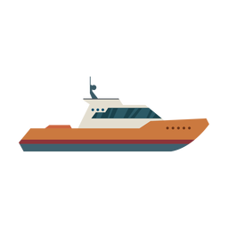 Cabin cruiser boat icon