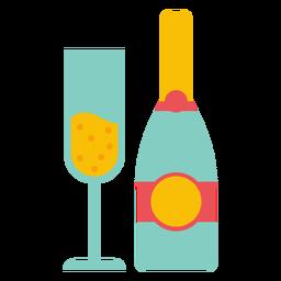Champagne botella y copa
