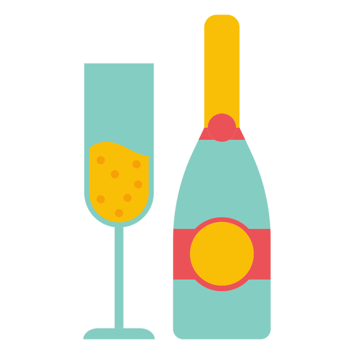 Champagne bottle and glass Transparent PNG