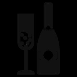 Champagne botella y copa plana