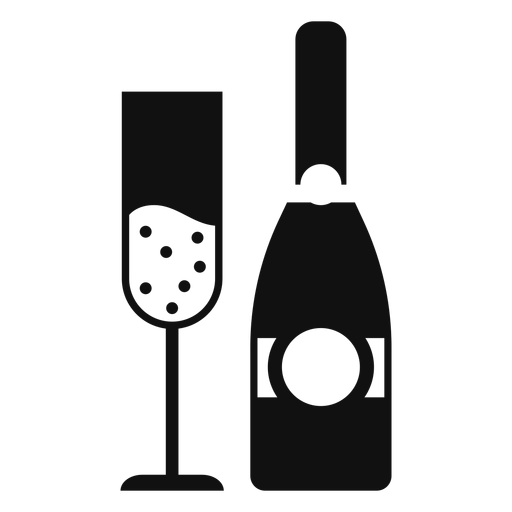 Champagne bottle and glass flat Transparent PNG