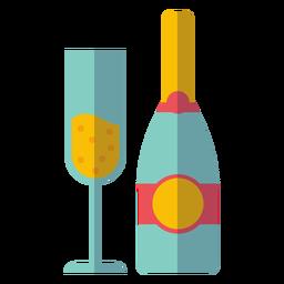 Garrafa de champanhe e ícone de vidro