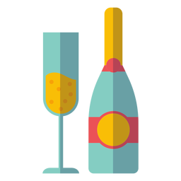Icono de botella y vaso de champagne