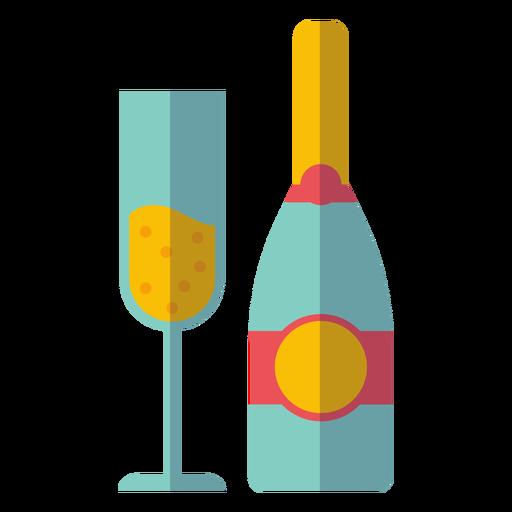 Sektflasche und Glas-Symbol Transparent PNG