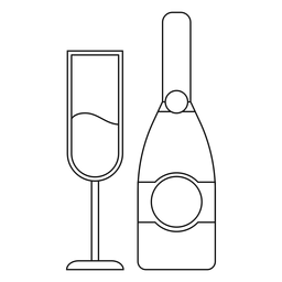 Champagne botella y línea de cristal