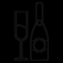 Garrafa de champanhe e linha de vidro
