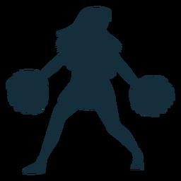 Animadora con pompones silueta.