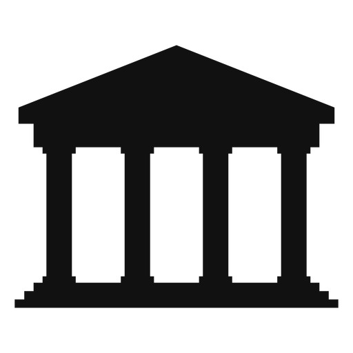 Classical university building silhouette Transparent PNG