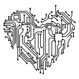 Gráfico de camiseta de corazón de circuito de computadora