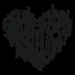 Gráfico de la camiseta del corazón del circuito de computadora