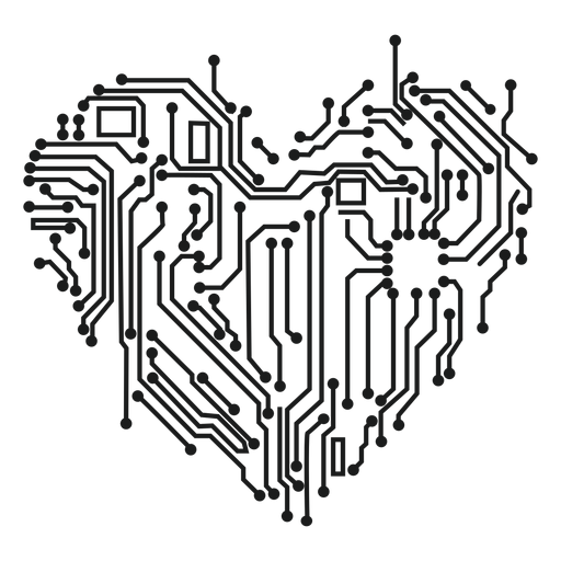 Computer circuit heart t shirt graphic Transparent PNG