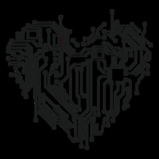 Gráfico de la camiseta del corazón del circuito de computadora Transparent PNG