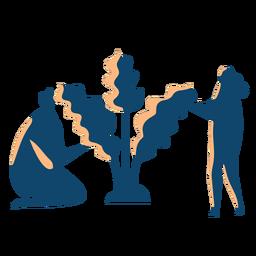 Paare, die Baumschattenbild pflanzen