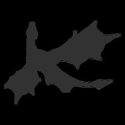 Dragon flying silhouette