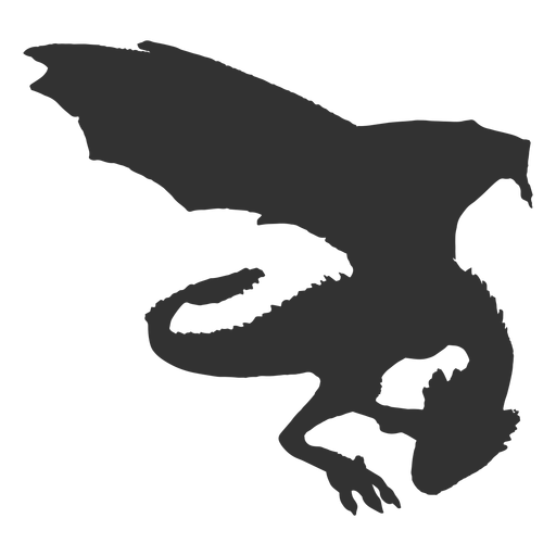 Silueta de dragón de pie Transparent PNG