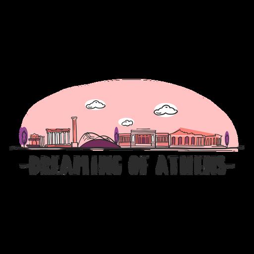 Sonhando o desenho animado de horizonte de Atenas Transparent PNG