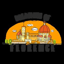 Soñando dibujos animados del horizonte de Florencia