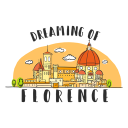 Träumen von Florenz-Skylinekarikatur