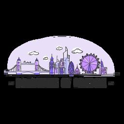 Dibujos animados de horizonte de Londres soñando