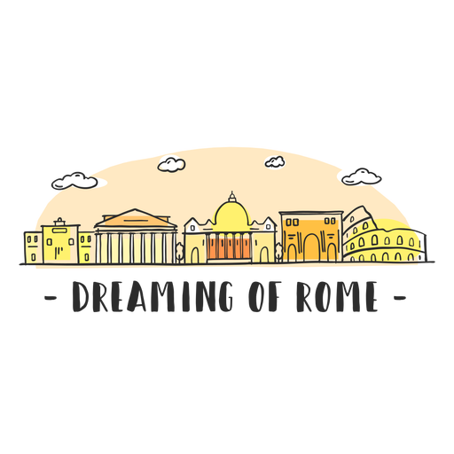 Dreaming rome skyline cartoon Transparent PNG