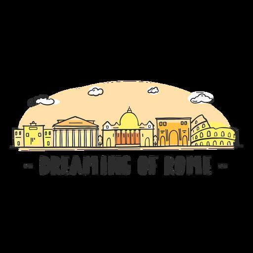 Sonhando o desenho animado de skyline de Roma Transparent PNG