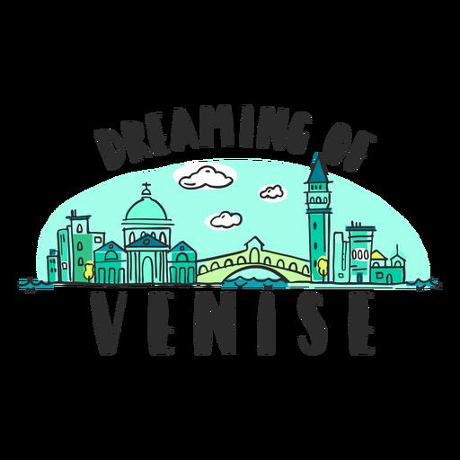 Dreaming venice skyline cartoon Transparent PNG